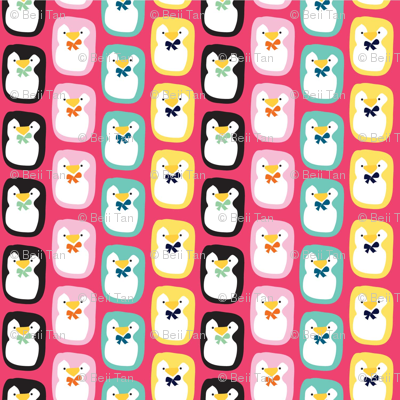 Rainbow Penguins in Pink