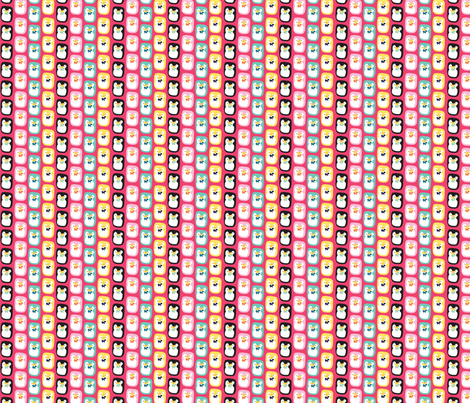 Rainbow Penguins in Pink fabric by beii on Spoonflower - custom fabric