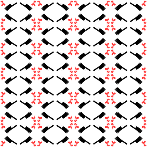 Meat Cleavers are LOVE Fabric (red hearts) fabric by swagger_savvy_designs on Spoonflower - custom fabric