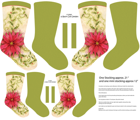 Poinsettia Christmas Stocking fabric by 13blackcatsdesigns on Spoonflower - custom fabric