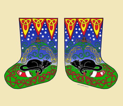 4catdreamingcelticstockings fabric by ingridthecrafty on Spoonflower - custom fabric