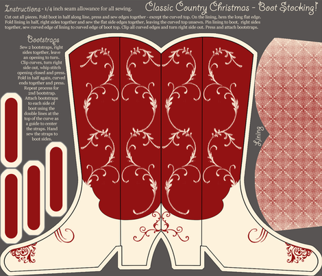 Cowboy_Christmas_Stockings fabric by jumping_monkeys on Spoonflower - custom fabric