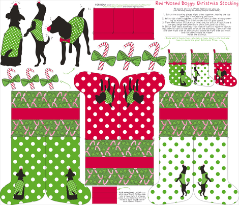 Red-nosed Doggy Stocking Kit fabric by majobv on Spoonflower - custom fabric