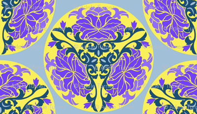 Chinese floral in lilac and yellow