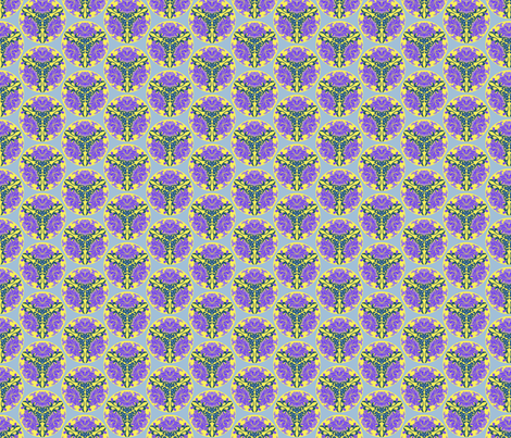 Chinese floral in lilac and yellow fabric by delsie on Spoonflower - custom fabric