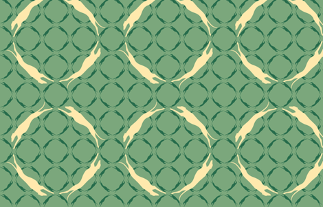 Green Greyhounds GG6  ©2010 by Jane Walker fabric by artbyjanewalker on Spoonflower - custom fabric