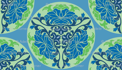 Chinese floral in blue and green