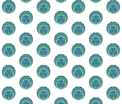 Nouveau Chinese in blue-green fabric by delsie on Spoonflower - custom fabric