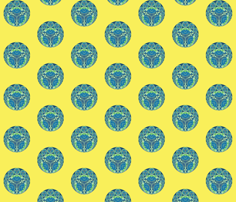 Chinese medallions in yellow fabric by delsie on Spoonflower - custom fabric