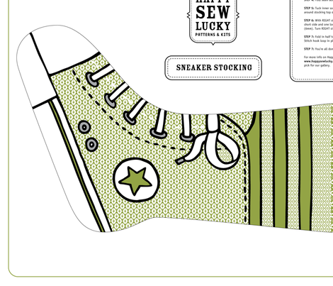 Happy Sew Lucky Sneaker Stocking - GREEN fabric by happysewlucky on Spoonflower - custom fabric