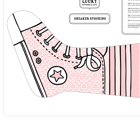 Happy Sew Lucky Sneaker Stocking - PINK fabric by happysewlucky on Spoonflower - custom fabric