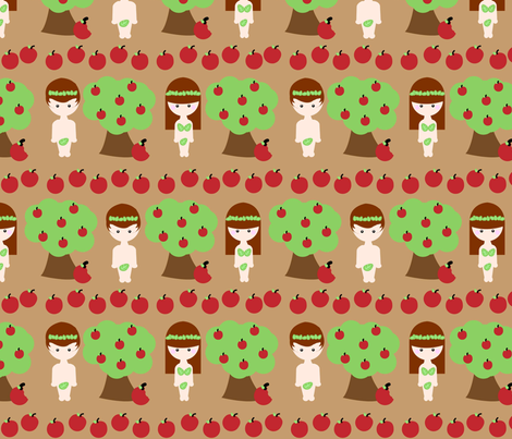 Adam and Eve and The Apple Tree fabric by beii on Spoonflower - custom fabric