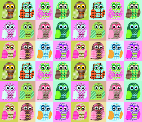 Hoot Owls fabric by petunias on Spoonflower - custom fabric