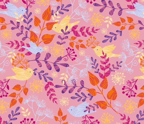 Birds and Flowers fabric by oksancia on Spoonflower - custom fabric