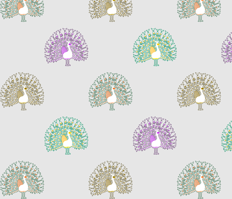 peacocksmallmulticolor fabric by mrshervi on Spoonflower - custom fabric