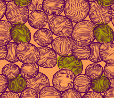 Onions in Coral, Purple and Green fabric by erinina on Spoonflower - custom fabric