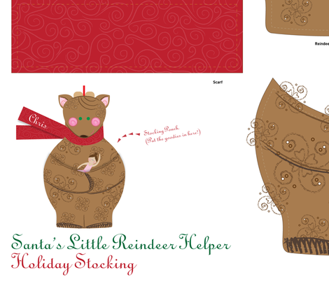 Holiday Stocking: Santa's Little Reindeer Helper with Ballerina - © Lucinda Wei fabric by simboko on Spoonflower - custom fabric