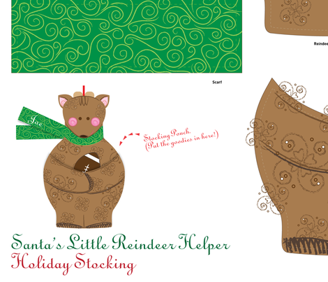 Holiday Stocking: Santa's Little Reindeer Helper with Football - © Lucinda Wei