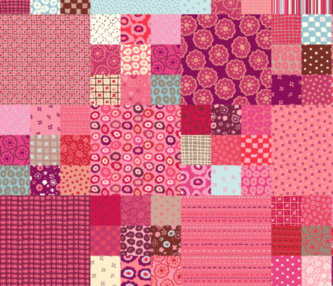 Pink Patchwork fabric fabric by twilltextiledesign on Spoonflower - custom fabric