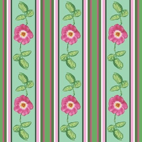 small pink rose and_leaves_stripes_3_12c
