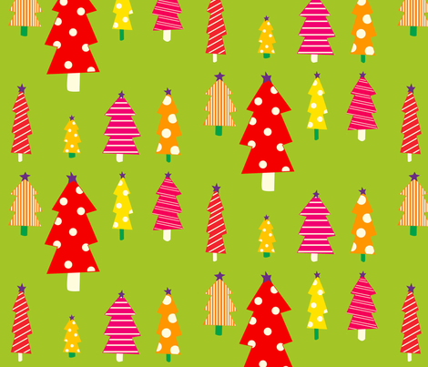 Christmas Trees On Green fabric by featheredneststudio on Spoonflower - custom fabric