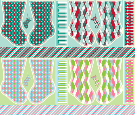Stocking Up for the Holidays - Sampler Panel fabric by inscribed_here on Spoonflower - custom fabric