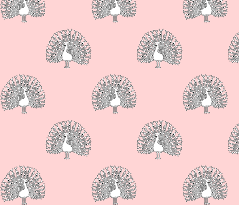peacockbwpink fabric by mrshervi on Spoonflower - custom fabric