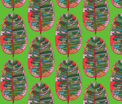 rubber leaf in green fabric by aprilmariemai on Spoonflower - custom fabric