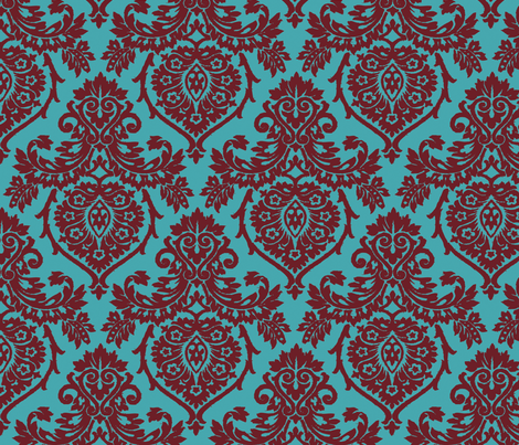 Prancer Ornamental Damask Big fabric by kamiekazee on Spoonflower - custom fabric