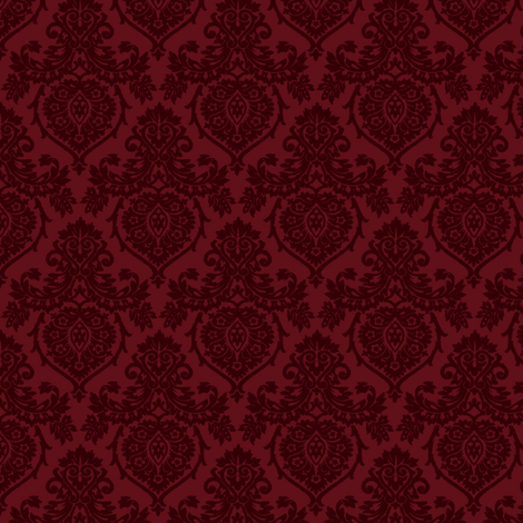 Prancer Ornamental Damask Small Red Fabric Kamiekazee
