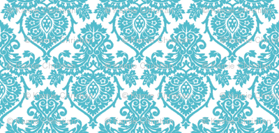Prancer Ornamental Damask Small Teal