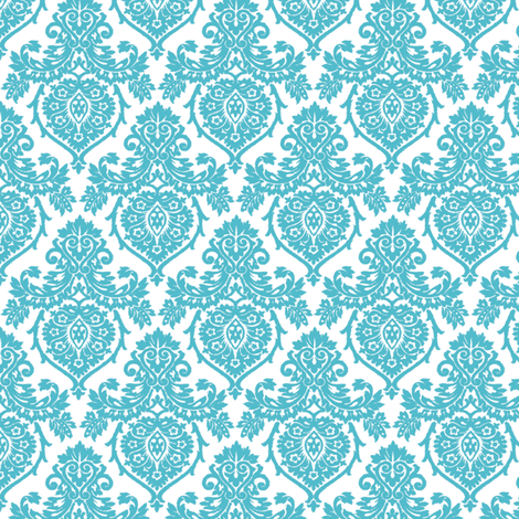 Prancer Ornamental Damask Small Teal fabric by kamiekazee on Spoonflower - custom fabric