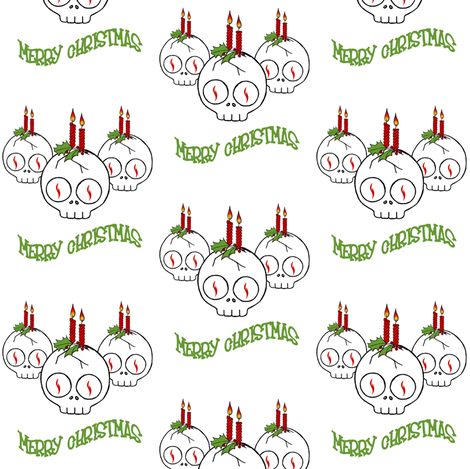 Skully Christmas fabric by puncezilla on Spoonflower - custom fabric