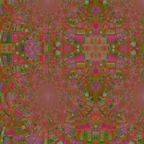 Abstract painting kadediscope pink and green