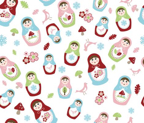 Matryoshka Dolls - 4 Seasons fabric by inktreepress on Spoonflower - custom fabric