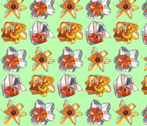 daffodils in green fabric by aprilmariemai on Spoonflower - custom fabric