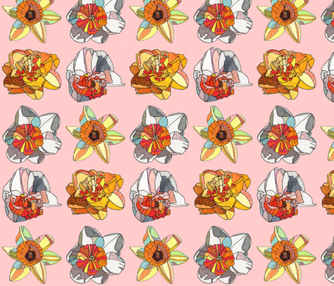 daffodils in pink fabric by aprilmariemai on Spoonflower - custom fabric