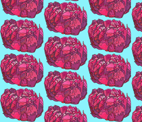 fuchsia peony in blue fabric by aprilmariemai on Spoonflower - custom fabric