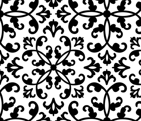 Contessa - black on white fabric by pixeldust on Spoonflower - custom fabric