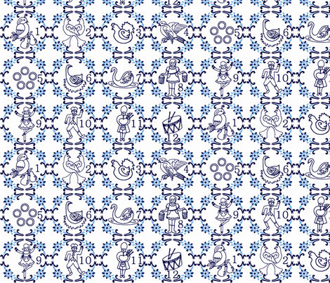 12 Days of Christmas Delft Style fabric by kdl on Spoonflower - custom fabric