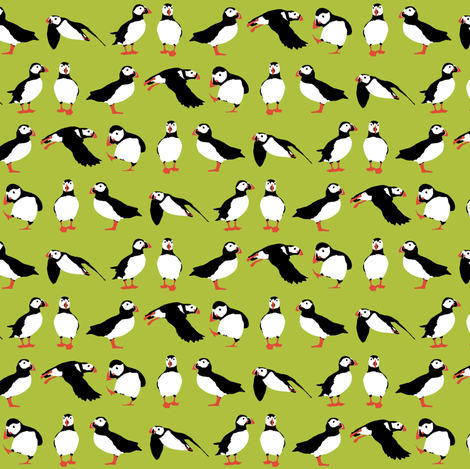 just puffins green small fabric by scrummy on Spoonflower - custom fabric