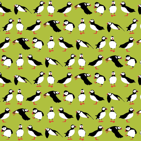 just small puffins (green) fabric by scrummy on Spoonflower - custom fabric