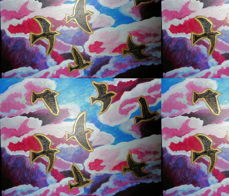 Golden birds  fabric by lynnhsim on Spoonflower - custom fabric
