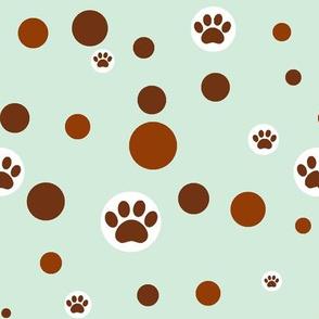 paw print polka-dot bowns on light blue