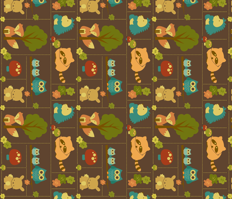 Cuddly Woodland Animal Bricks SMALL ROTATED fabric by saraink on Spoonflower - custom fabric