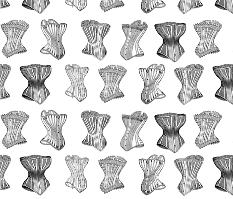Vintage Victorian Corsets fabric by poetryqn on Spoonflower - custom fabric