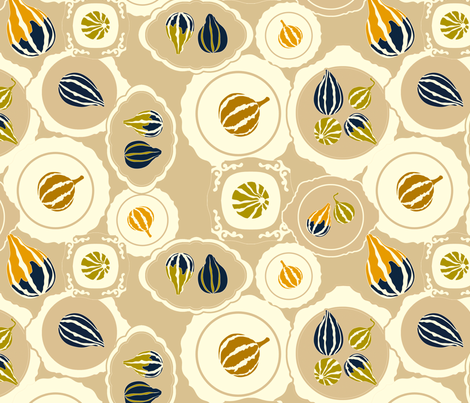 Gourds on vintage plates - small scale fabric by newmom on Spoonflower - custom fabric