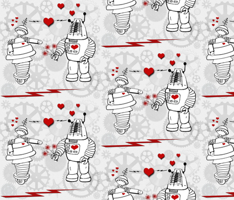 Robot Love II fabric by poetryqn on Spoonflower - custom fabric