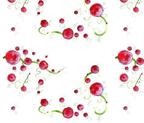 Roses And Ladybirds fabric by cmcreations on Spoonflower - custom fabric