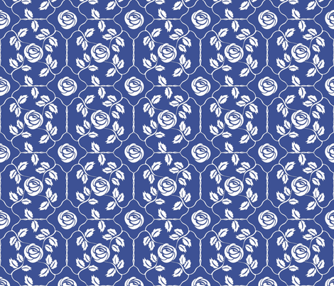 Delft Rose - White fabric by kristopherk on Spoonflower - custom fabric